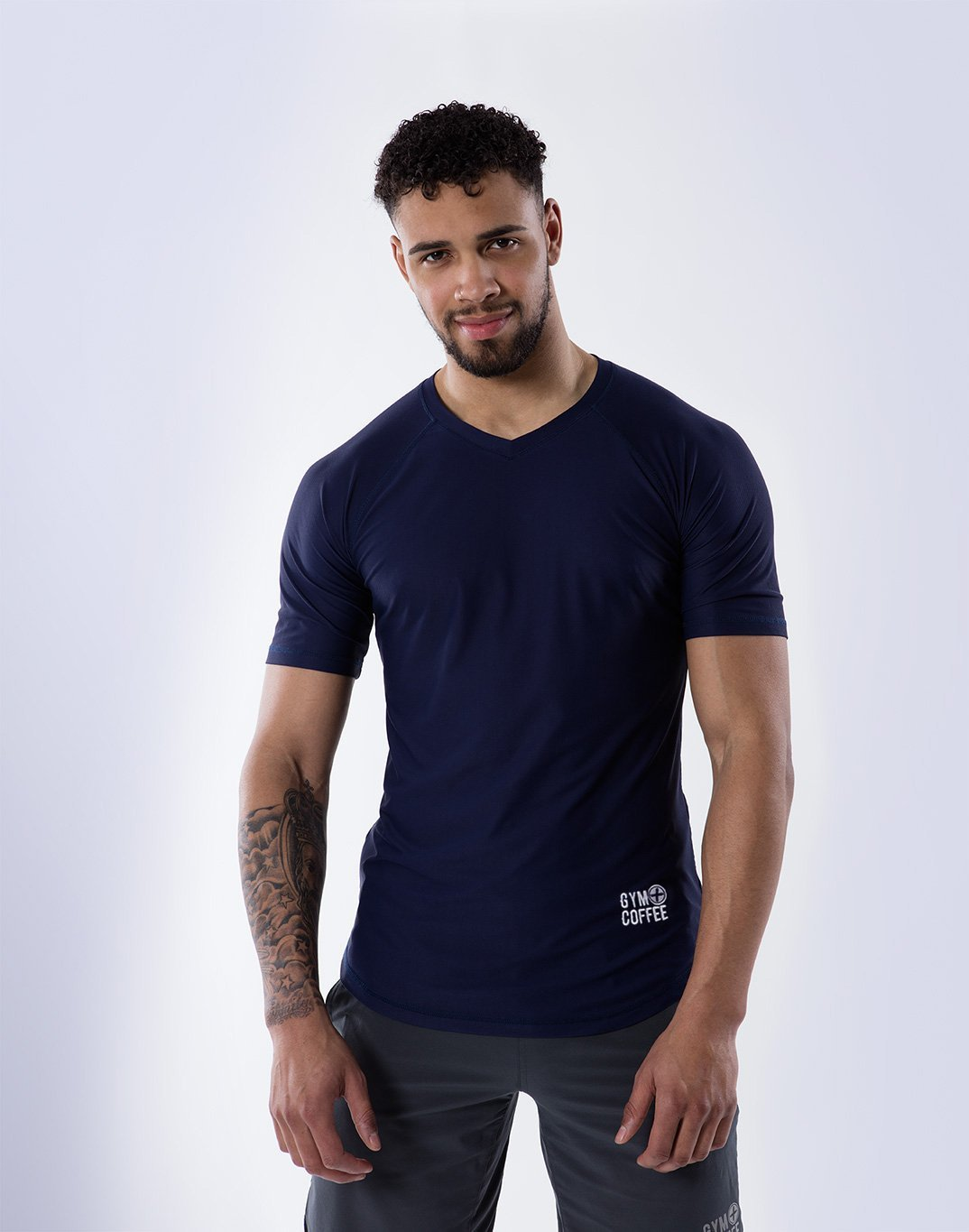 Gym Plus Coffee Men's T-Shirt V-Tech Tee in Navy Designed in Ireland