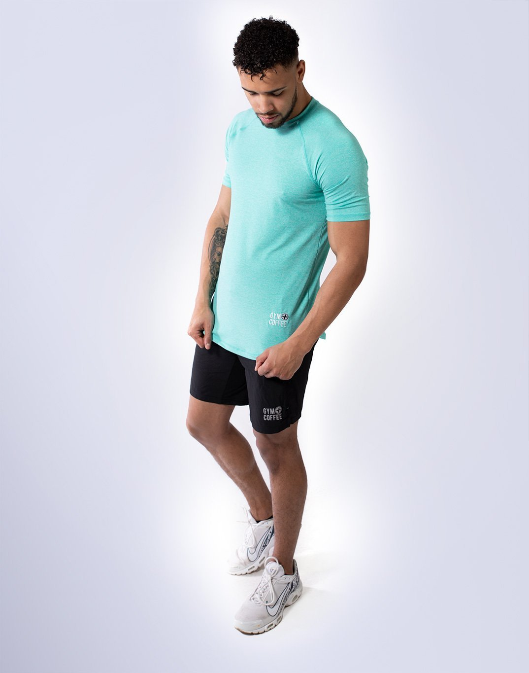 Gym Plus Coffee T-Shirt Men's Raglan Tech in Aqua Designed in Ireland