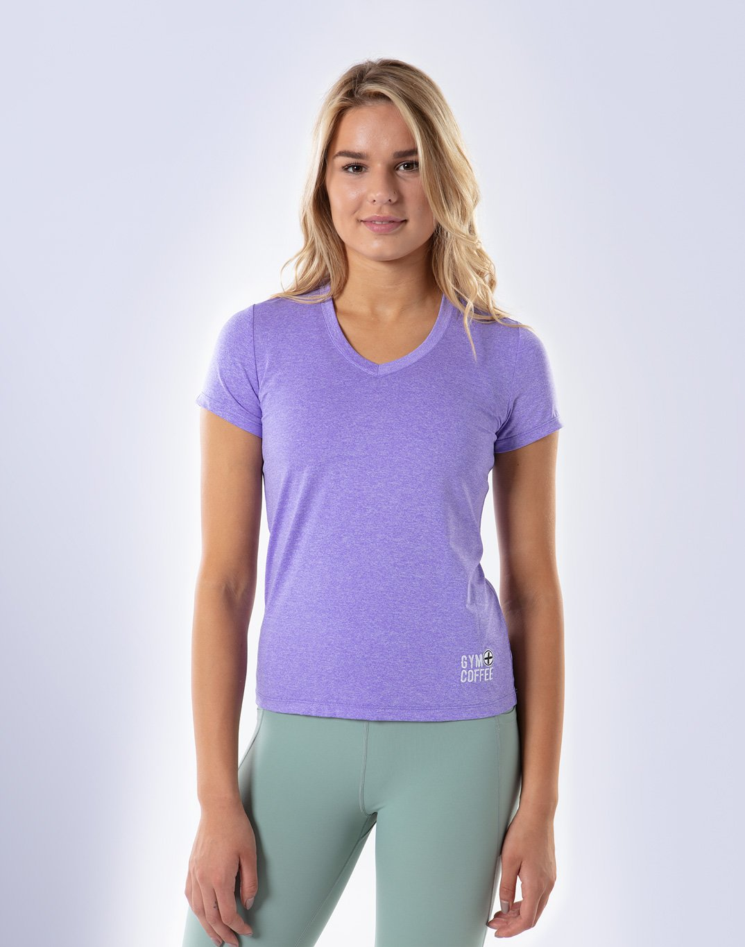 Gym Plus Coffee T-Shirt Raglan V-Tech Tee in Lilac Designed in Ireland