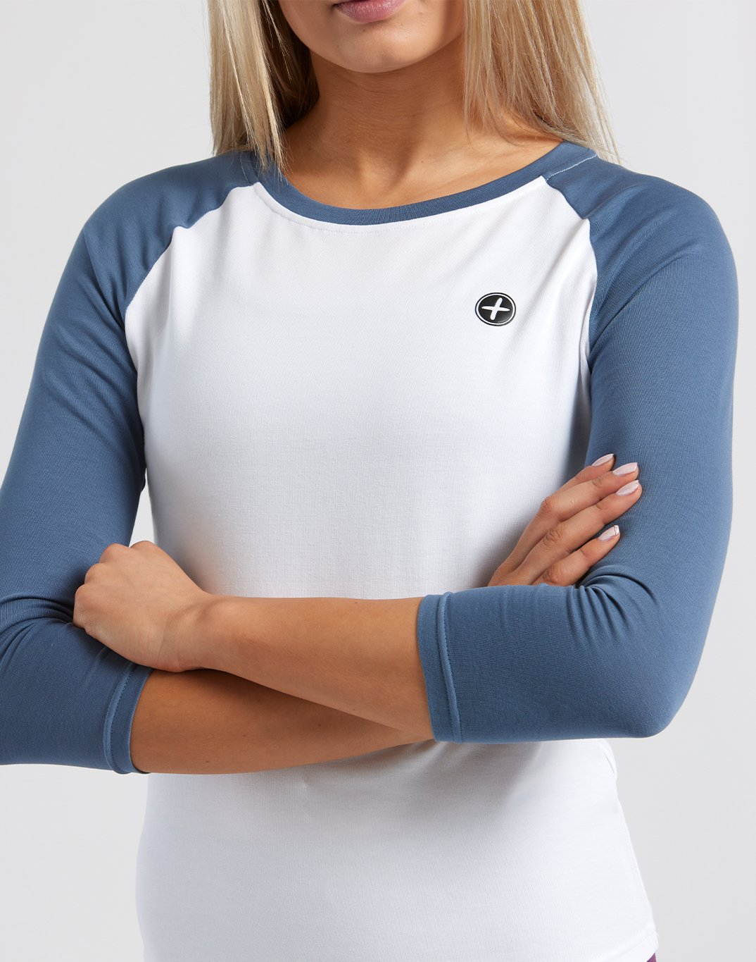 Gym Plus Coffee T-Shirt Womens Home Run Tee in Metal Blue/White Designed in Ireland