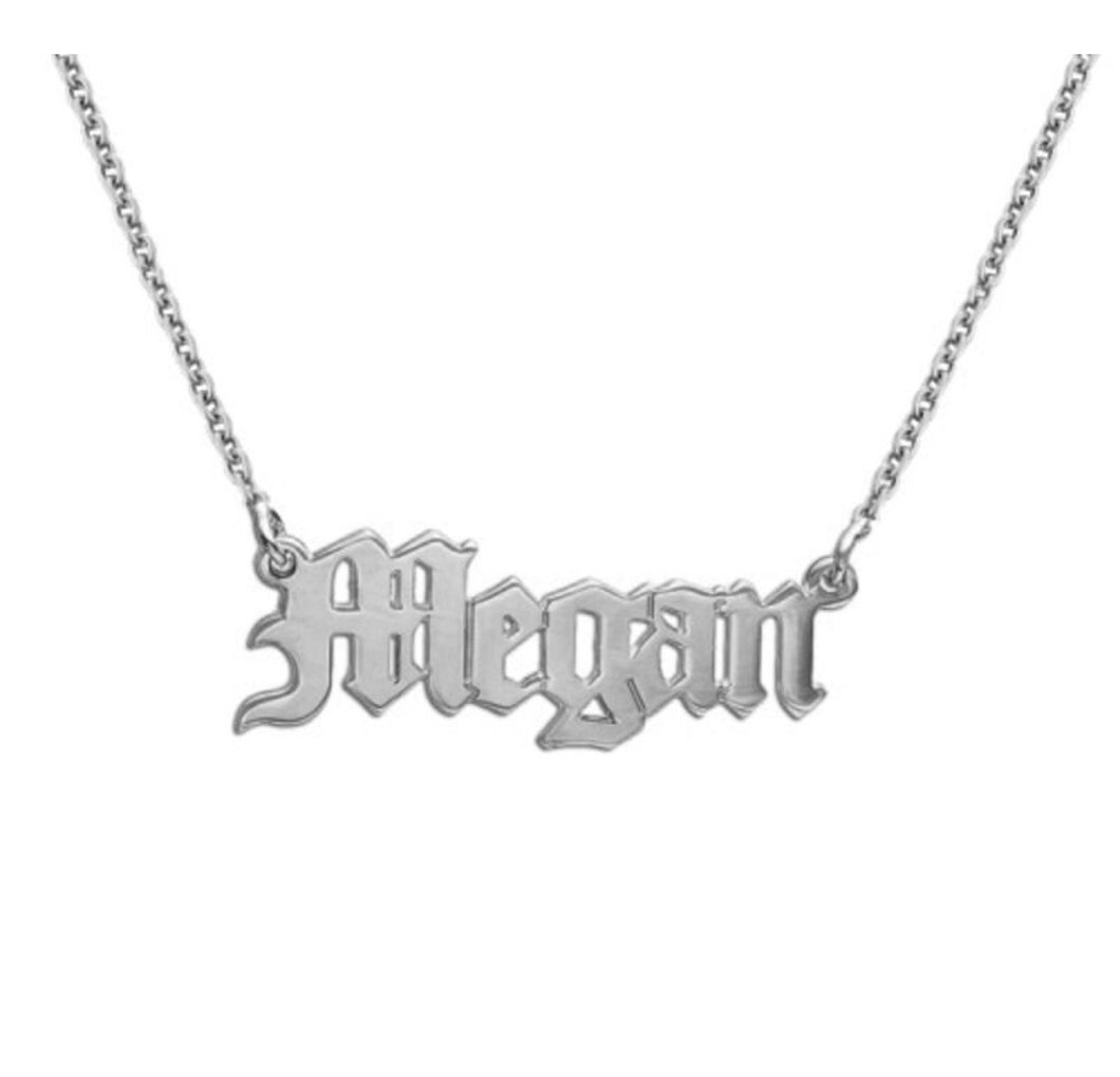 Old English Script Name Necklace
