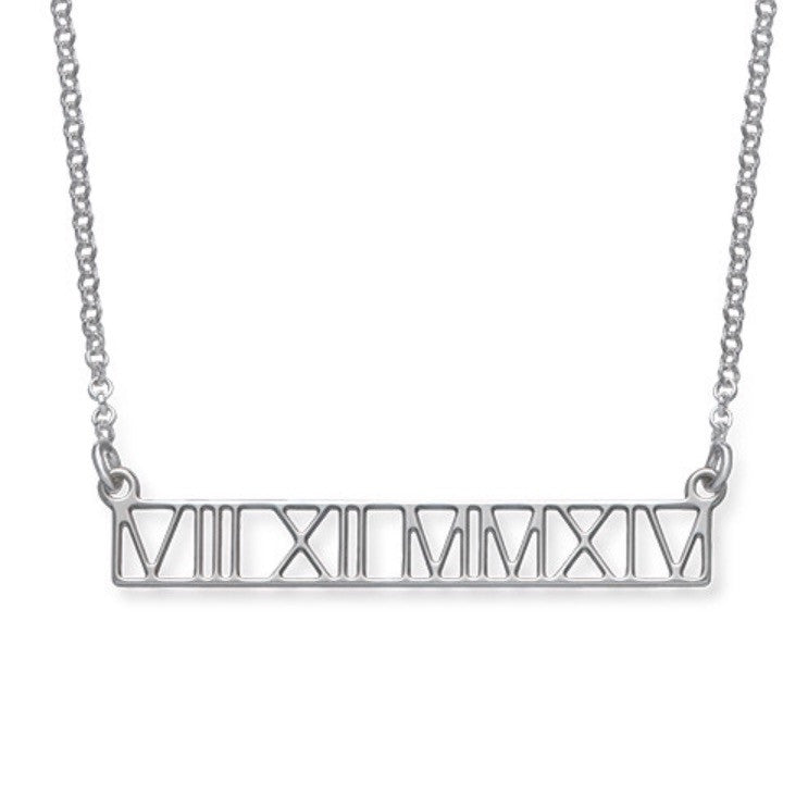 Roman Numeral Bar Necklace - Cut Out Design