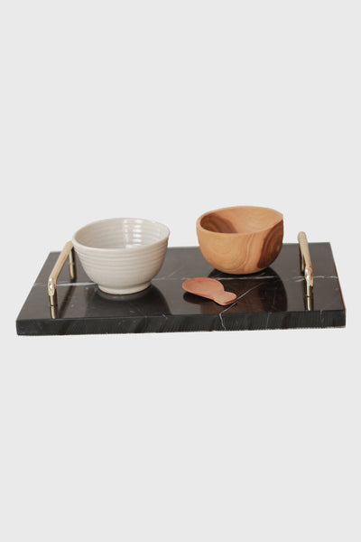 Orecchio Quadrato Marble Tray Large with Gold Holder