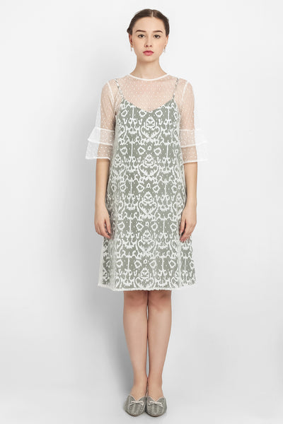 Warangka Batik Oslo Bell-Sleeves Tulle Dress in Grey