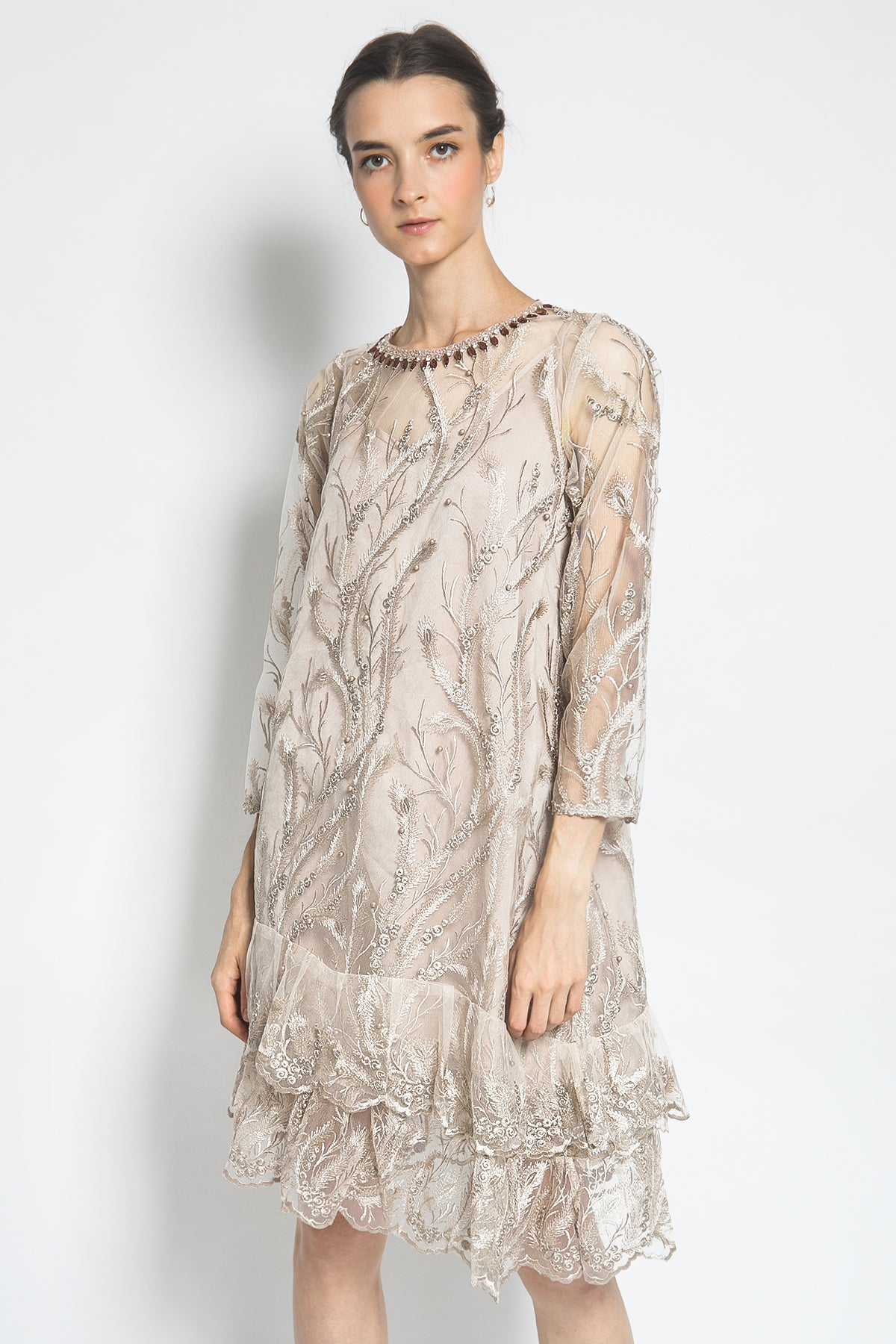 Aimee Alamanda Dress in Light Brown