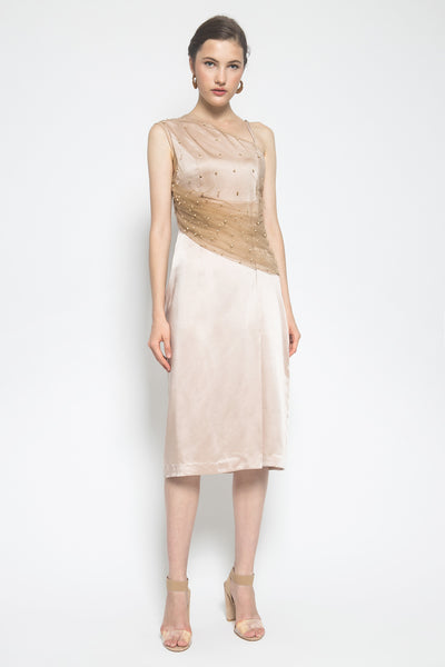 Alteir Creme Assymetrical Midi Dress