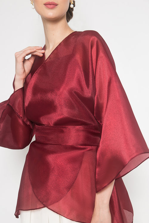 Naura Organza Outer Top in Maroon