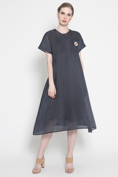 Mira Organza Dress in Navy