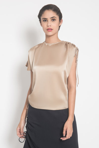 Drawstring Blouse in Nude Gold