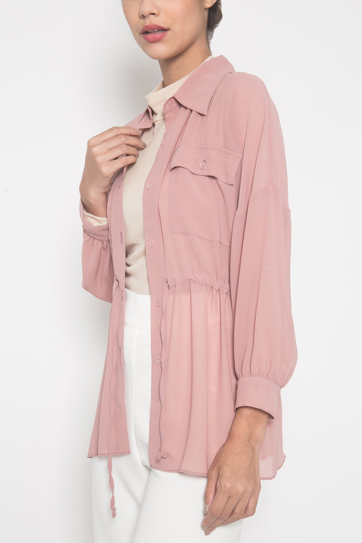 Sheer Shirt in Dusty Pink