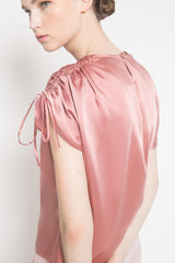 Drawstring Blouse in Dusty Pink