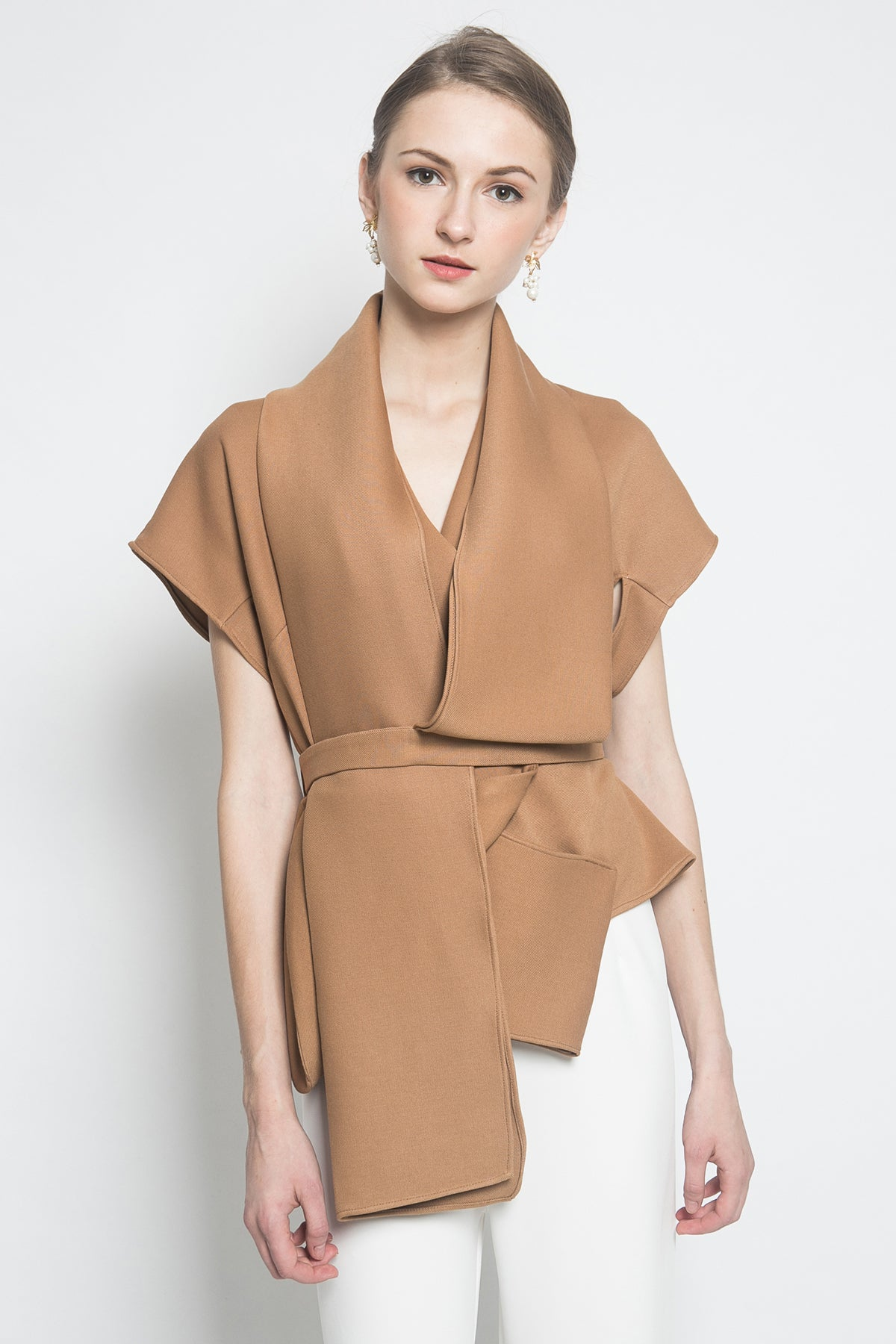 Bloom et Champs Scarf Top in Brown