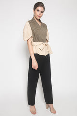 Lengan Tulip Top in Beige