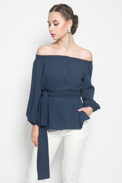Bypozo Paco Off Shoulder Top in Navy