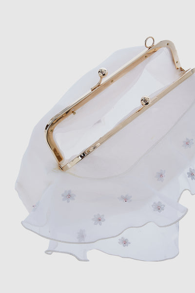 Daisy Flower Trapeze Clutch in White