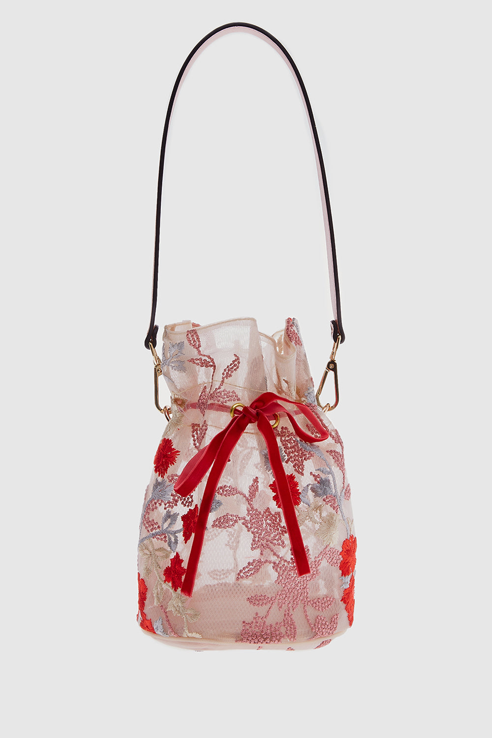 Hanna Drawstring Clutch in Red