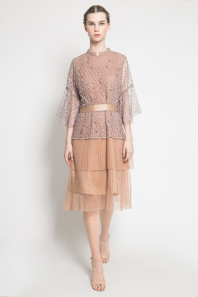 Minka Dress in Brown Creme