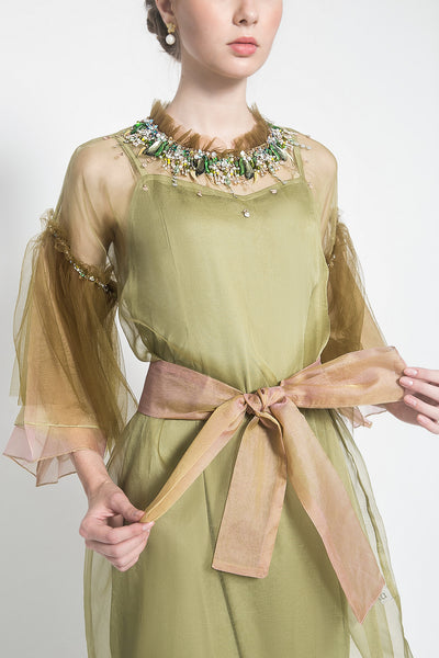 Bryony Organza Tunic in Two Tone Olive