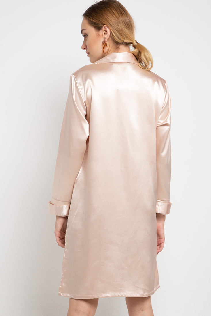 Eloise Shirt Dress in Dusty Pink