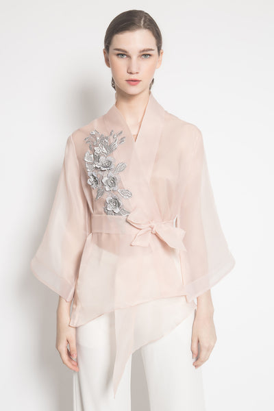 Amber Kimono Outer in Nude Pink