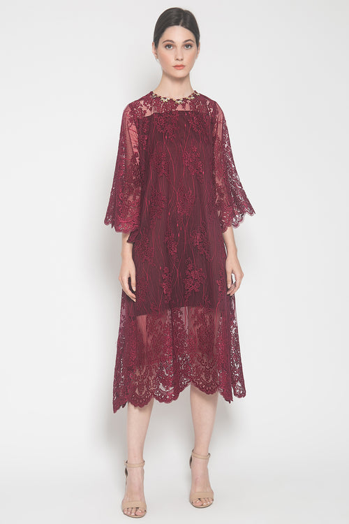 Anna Dress in Maroon