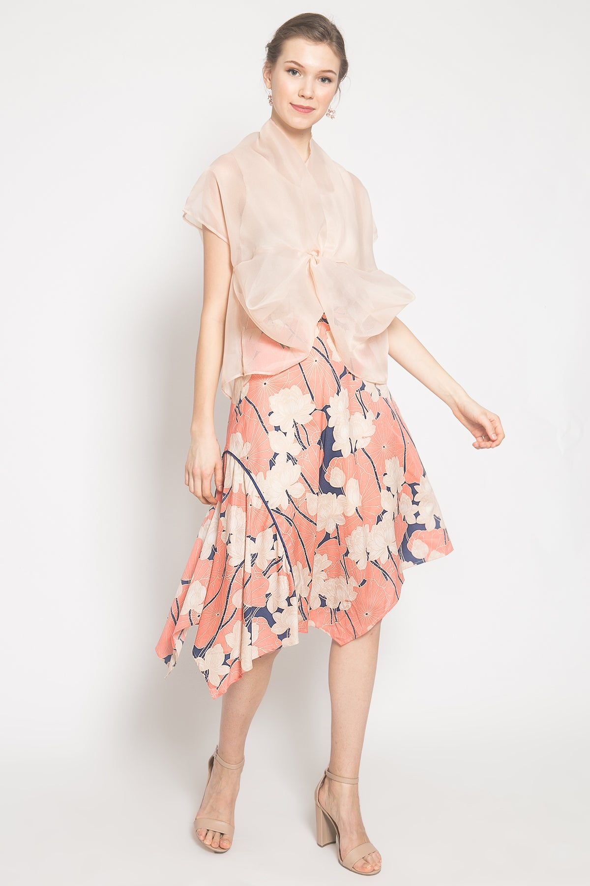 Janice Top in Cream and Orva Skirt in Peach Set