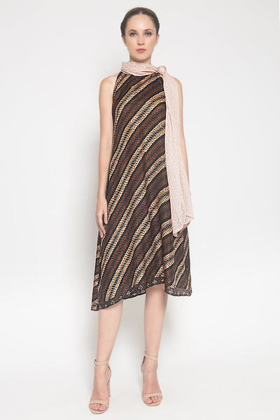 Miranda Dress in Brown Parang