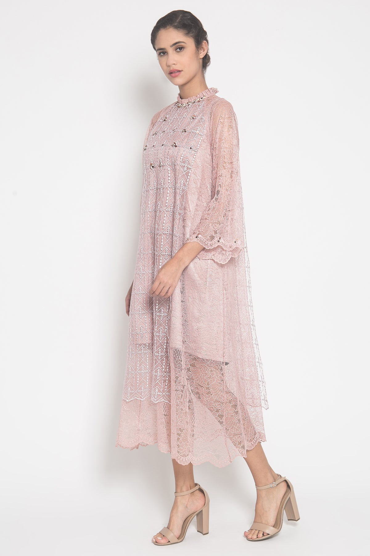 Eliza Brocade Dress in Pink