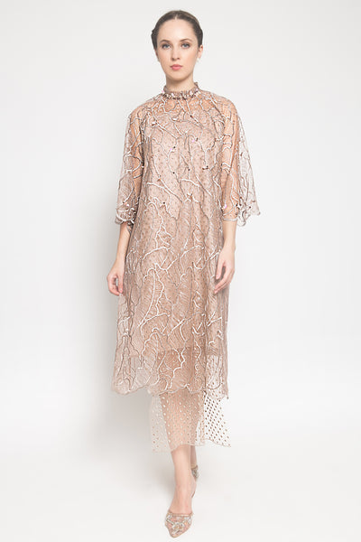 Jillian Back Stripes Dress in Rosegold