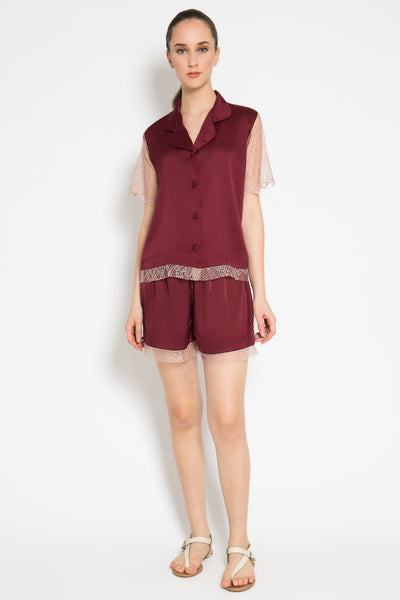 Lace Series Set Short Pants in Maroon