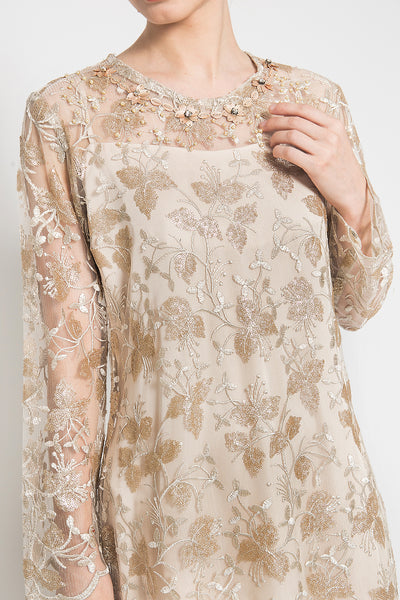 Lisette Dress in Soft Nude and Bronze