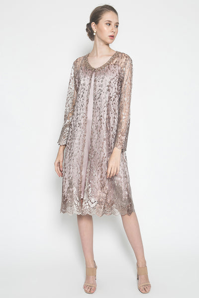MW Joella Dress in Soft Dusty Pink and Bronze