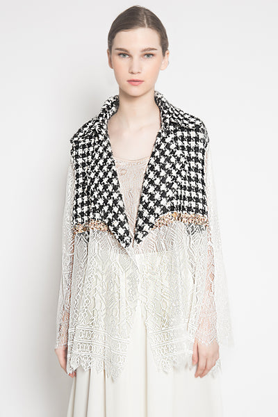 Maxine Tweed Outer in White Houndstooth