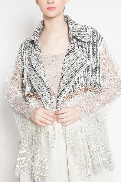Maxine Tweed Outer in White Stripes