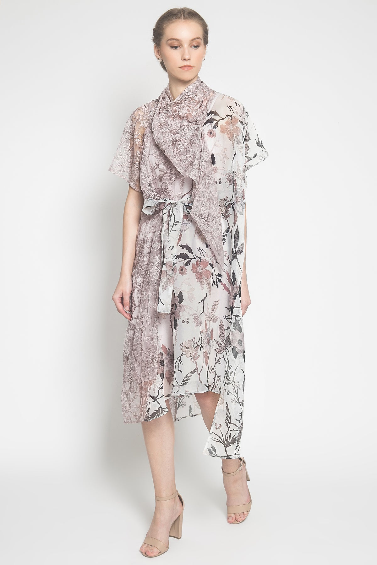 Raquel Organza-Blend Dress in Lilac Floral