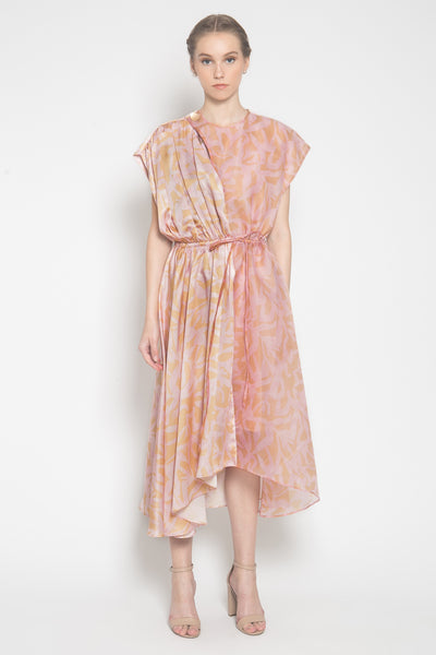 Sora Gathered-Effect Dress in Coral Pink