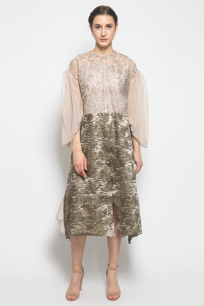 MYVB Atelier Solange Jacquard Lace Outer in Champagne Green