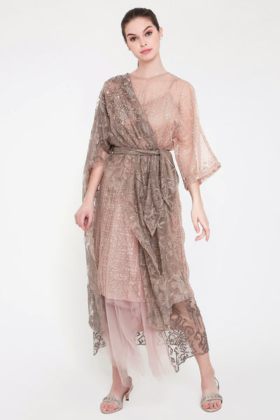 Azzurre Sequin Layered Tunic in Taupe