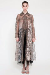 Riviera Long Embroidered Outer Dress in Taupe