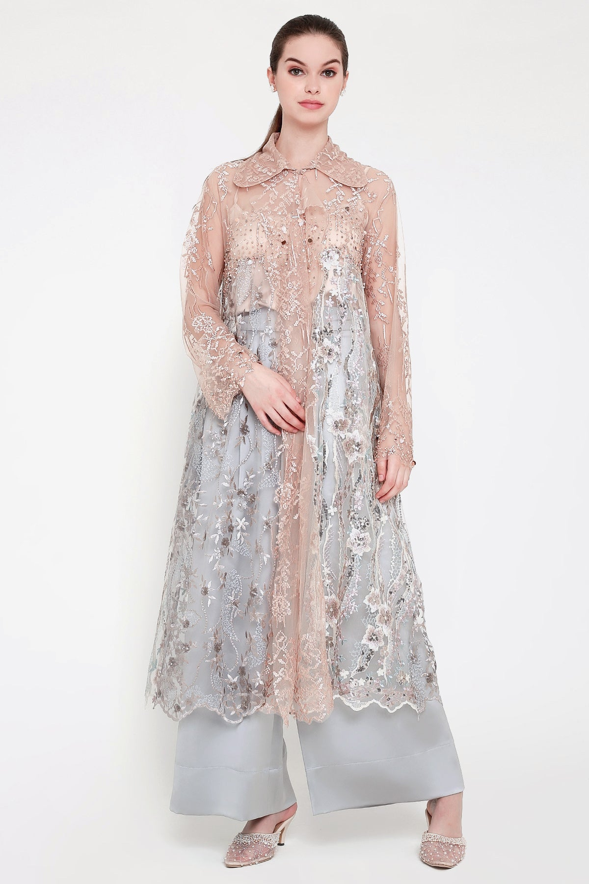 Riviera Long Embroidered Outer Dress in Champagne