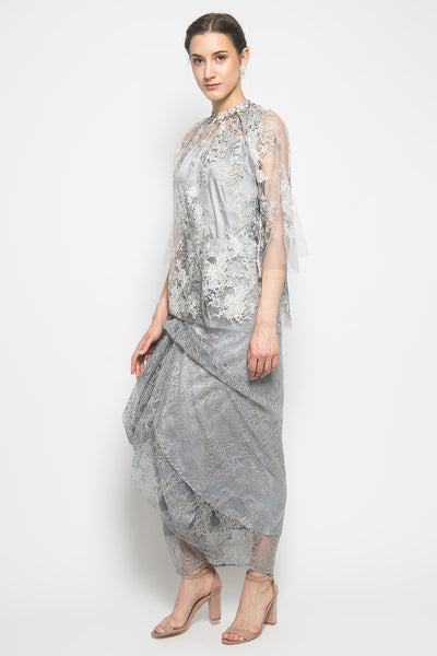 MYVB Atelier Lilian Draped Lace Skirt in Ash Grey