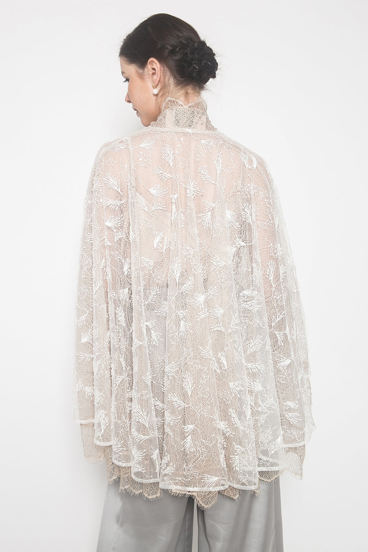 Hepburn Drape Cape Effect in White Almond