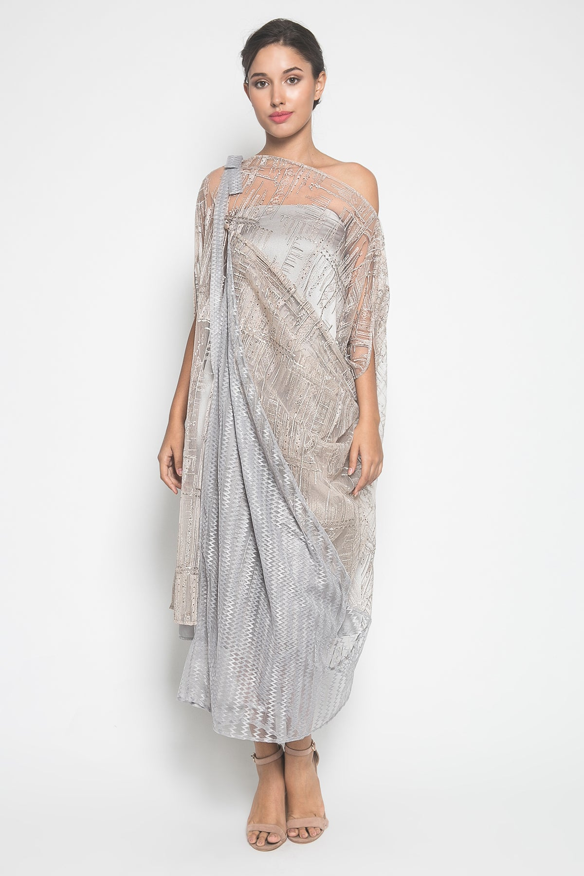 MYVB Atelier Lou Twisted Dress in Greyish Gold