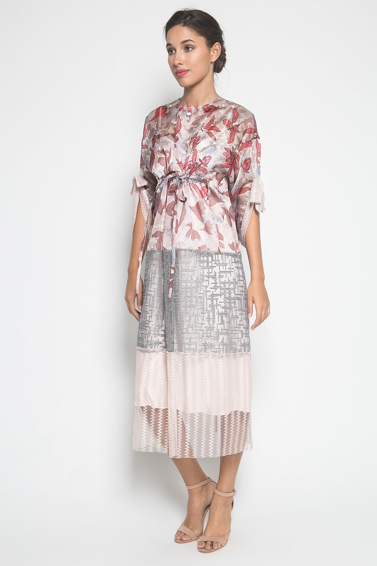 MYVB Atelier Noemi Embroidered Organza Dress in Pinkish Grey