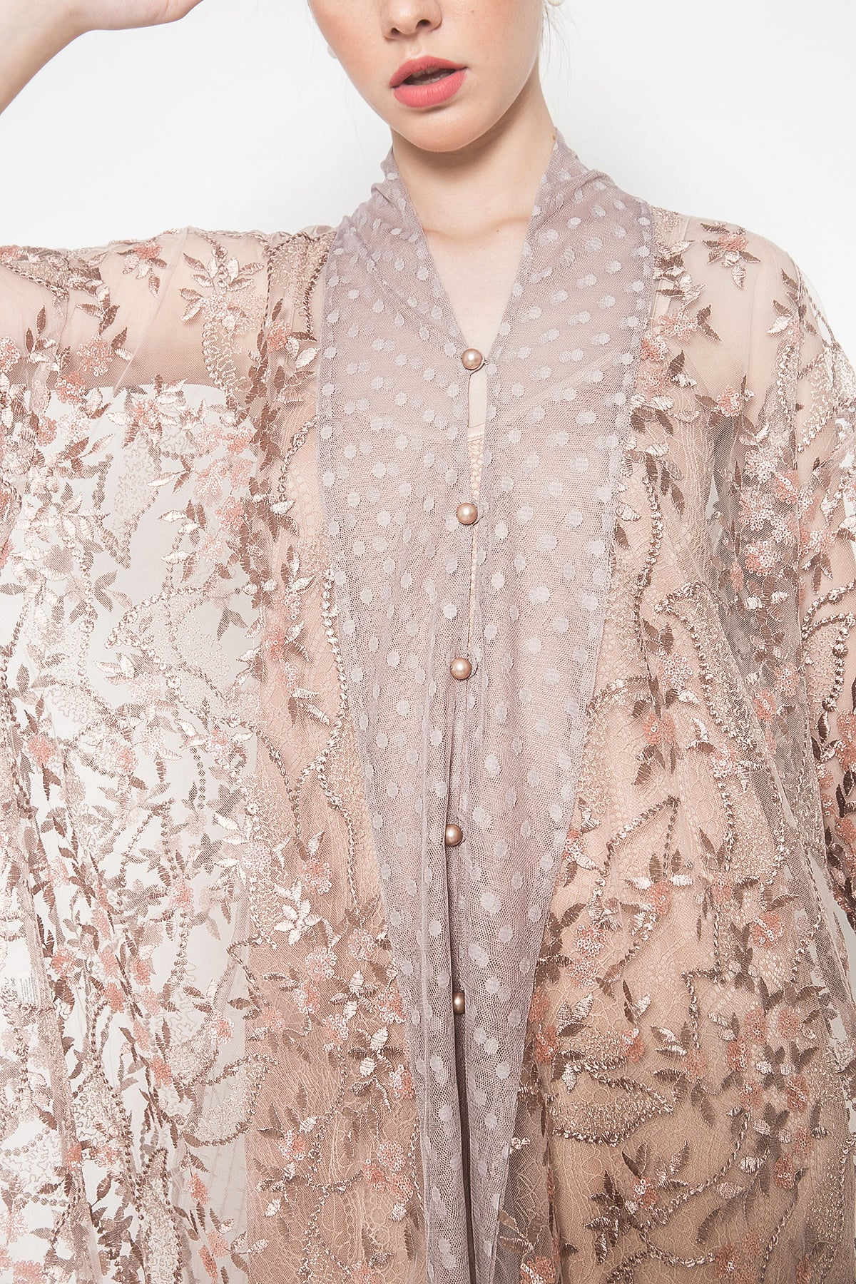 Reené Embroidered Tunic in Pearl Blush