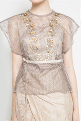 Frances Beads Top In Taupe
