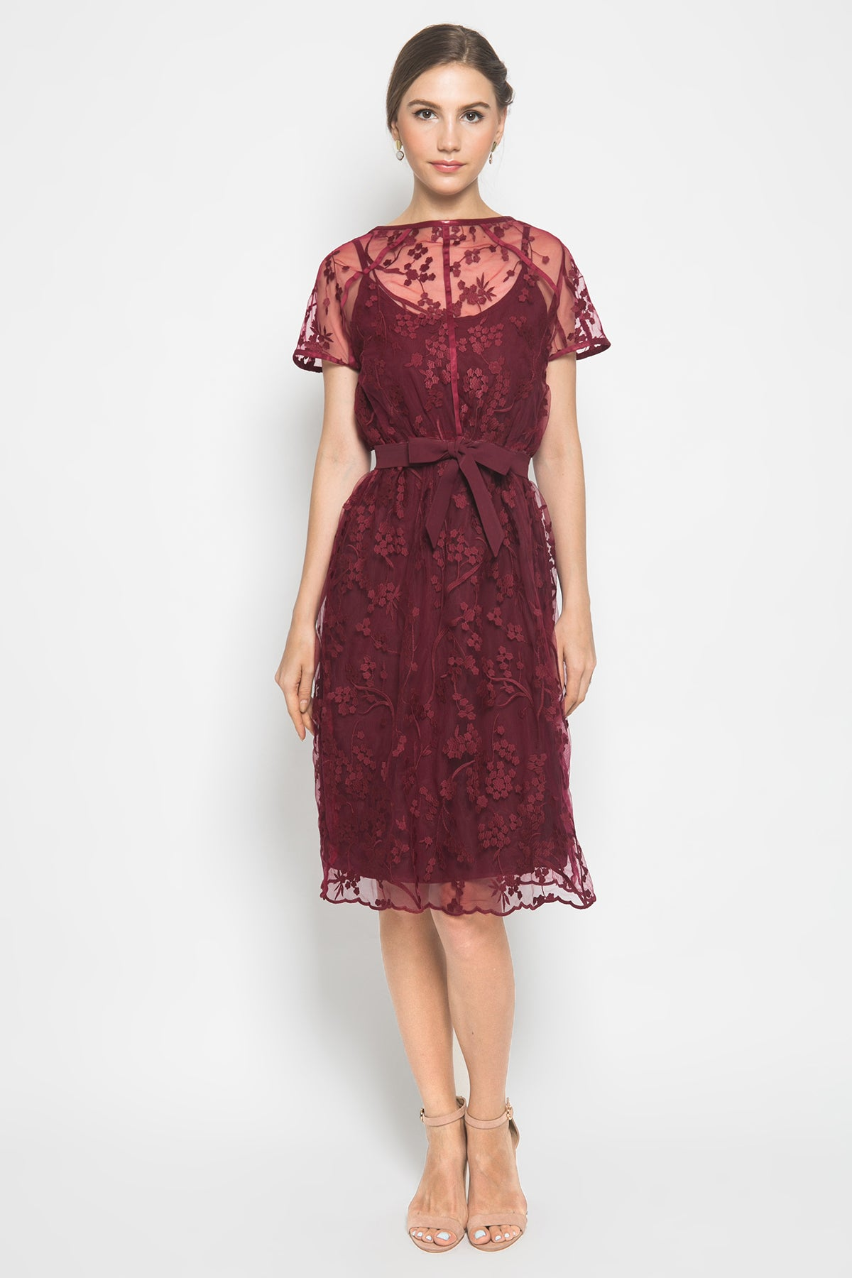 Exa Dress in Maroon