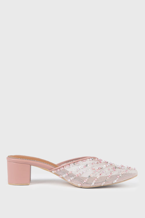 Brielle Mules in Dusty Pink