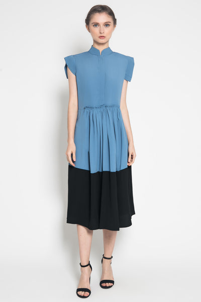 Gaia Dress in Bluegrey Black