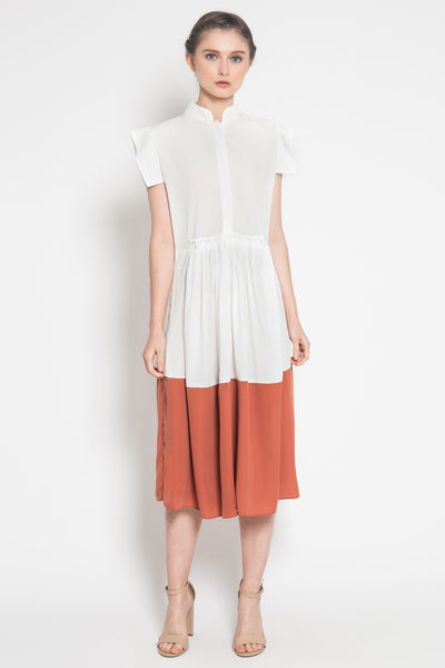Gaia Dress in White Tangerine
